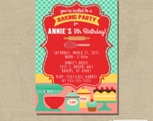 Printable BAKING COOKING Birthday Party Invitation -- Digital File -- 24 hour or less turnaround