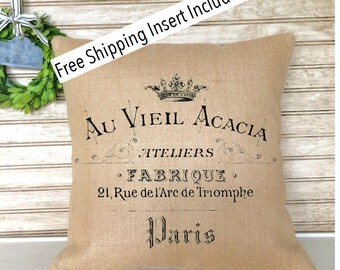 French Rustic Decor | Burlap Pillow | French Country | Insert Included | French Provincial | * FREE SHIPPING *