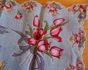 lovely pink tulips hanky