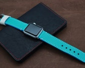 Apple Watch Leather Band in Caviar Pattern Embossed calf AQUA BLUE {turquoise}