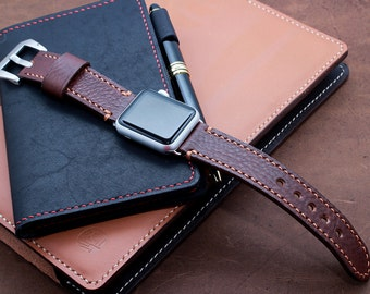 Hand Stitched Apple Watch Band in Chestnut Brown (FREE PERSONALIZATION)
