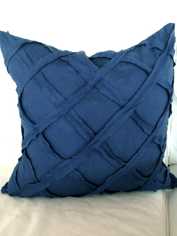 Blue Linen Throw Pillows : Items similar to Linen Throw Pillow Indigo Throw Pillow blue pillow linen shabby chic pillow on Etsy