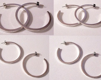 Avon Square Tube Great Hoops Pierced Post Stud Earrings Silver Tone Vintage 1977 Smooth Round Large