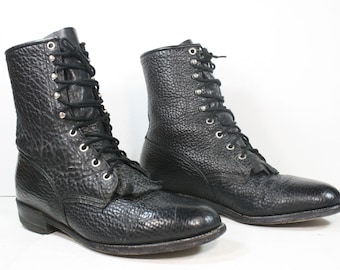 Vintage grunge granny COMBAT army boots militarty black oxford jump pixie lace up textured Justin 9 D mens