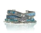 Blue reptile leather bohemian multistrand bracelet with Swarovski crystal elements - leather wrap bracelet - turquoise and teal bracelet