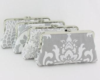 Grey & White Damask Bridesmaids Clutch, Custom Wedding Clutch, Damask Wedding Clutches - Set of 4