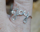 Wire Word Ring JOY Silver Non Tarnish Silver Plated Wire