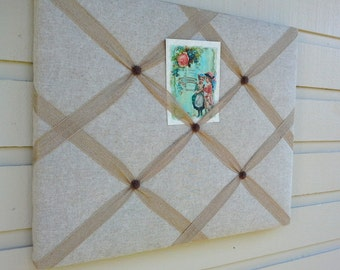 French Memory Board, Linen upholstery fabric over a solid wood frame, batting, burlap ribbon and floral cabochons, photo display, office
