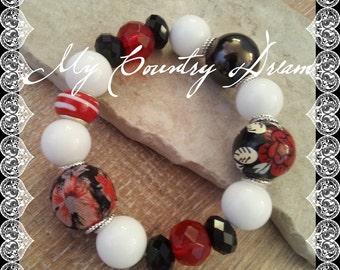 White red and black Stretchy Beaded Bracelet Swarovski Crystal Bracelet