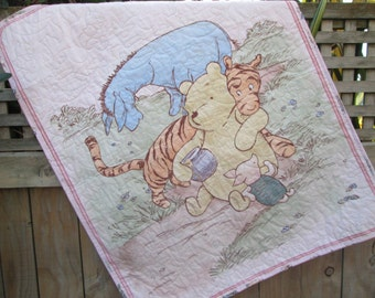 Baby Girl Quilt, Classic Winnie the Pooh Pink, Tigger, Eeyore, Piglet and Roo, Pooh Nursery Decor, Pooh Crib Bedding