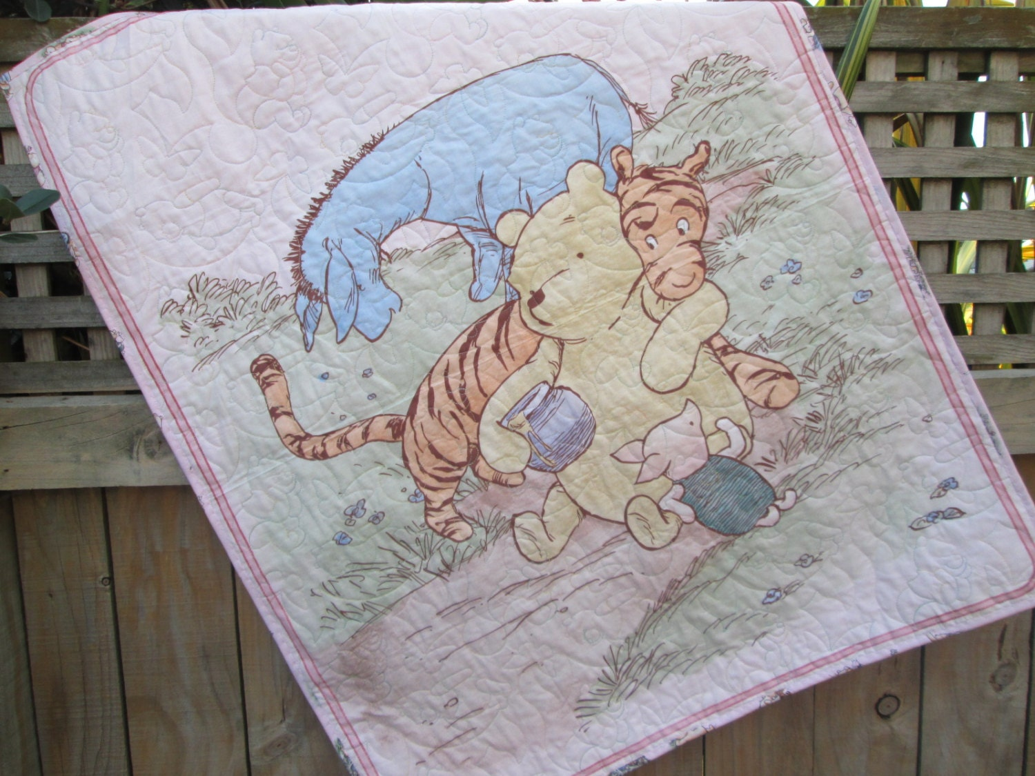 Baby Girl Quilt Classic Winnie The Pooh Pink Tigger Eeyore