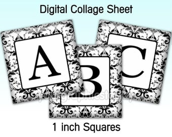 1 inch square images alphabet digital collage sheet 1 X 1 printable jewelry craft supplies instant download Damask black white (CS 525)