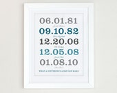 Important Date Art, What a Difference a Day Makes, Important Date Sign, Special Date Wall Art, Personalized Special Date, Family Last Name