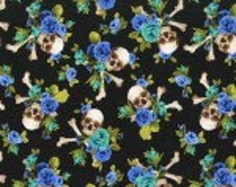 Michael Miller Skulls Out Charm Skull Turquoise Fabric - 1 yard