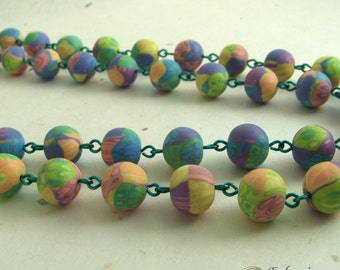 Pastel patchwork long bead necklace, unique handmade polymer clay beads on emerald green copper wire