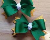 Green Bay....Green.....gold....Pig-tail bows
