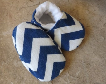 Navy and White Chevron Soft Sole Baby Shoes - Sizes 0-18 Months