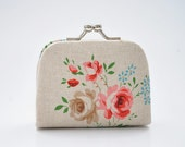 Romantic Shabby Floral Linen - Tiny Kiss lock Coin Purse/Jewelry holder