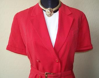 Vintage Louis Feraud Red & White Pinstripe Dress w/Belt Sz 10