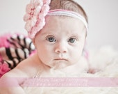 Pink Flower Headband photo prop Wedding Party Baptism Baby Girl Headband Hair Baby Accessories Photo prop