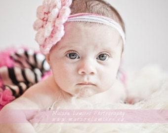 Pink Flower Headband photo prop Headband for Wedding Party Baptism Baby Girl Headband Hair Baby Accessories Photo prop