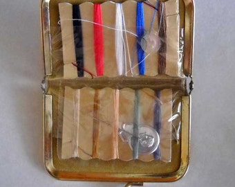 Vintage  Mini Sewing Kit in Green Leather Case For Purse or Travel