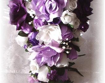8pc Bridal Bouquet Wedding Flowers PURPLE Lavender White Roses Cascade