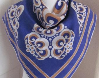 "Vintage Blue White Super Soft Silk Scarf  - 26"" Inch 61cm Square"