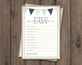 RUSTIC WISHES for Baby Card - Rustic Baby Shower - Rustic Boy Shower - Navy & Mint