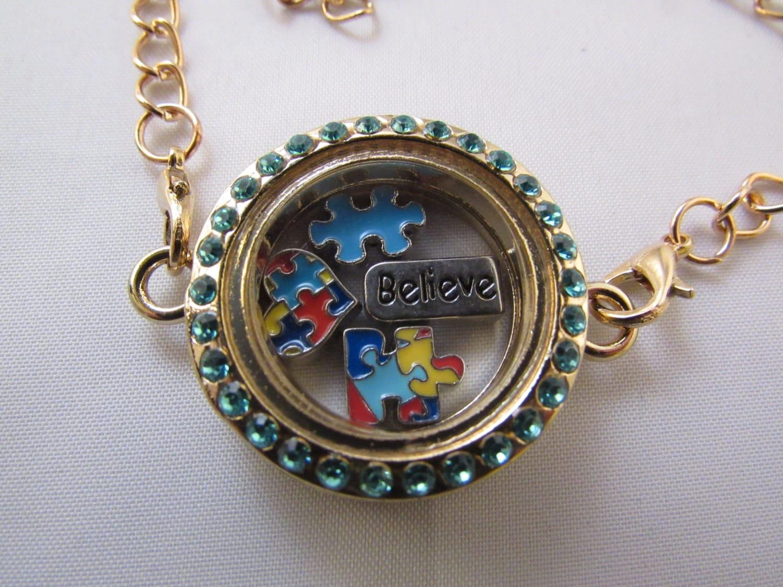 autism floating locket bracelet