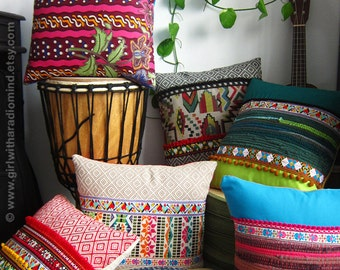 Decorative Pillows - Set of 3 - Your Choice of Design / Colorful, Mexican, Boho, Gypsy, Rustic - 16x16 inches
