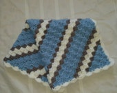 Baby Blanket  Light Blue White Grey Gray READY TO SHIP
