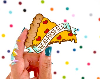 hand painted laser wood cut brooch / love at first slice / heart pizza pin flair
