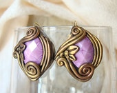 Baroque Victorian Renaissance Art Nouveau Vintage Polymer Clay Handmade Big Post Earrings