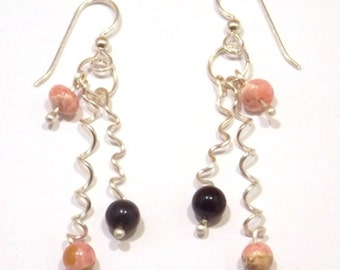 Drop Earrings, Long Earrings, Dangle Earrings, Funky Earrings, Spiral Earrings, Pink Earrings