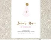 Birthday Party Hat Invitation | Birthday Girl Polka Dot Invite  - Customized Printable File