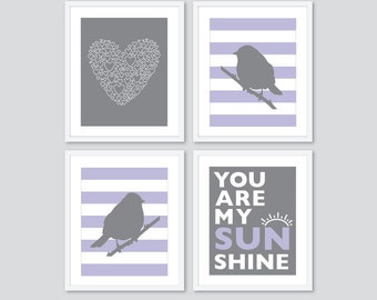 Lilac and Grey Nursery Art Prints - Heart Birds Stripes You are My Sunshine - Choose Your Colors