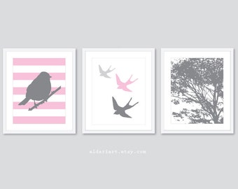Modern Bird and Tree Nursery Art Prints - Set of 3 Prints -  Baby Girl Nursery Decor - Pink and Grey - Swallow Bird Print - Woodland Decor