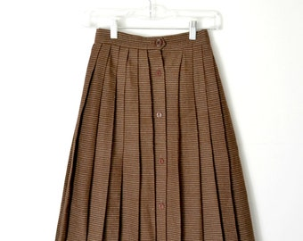 Vintage 60s Pleated Striped Wool Skirt Button down Flared / Size Small