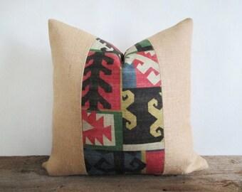 Pillow Cover Burlap & Aztec Stripe Zipper Opening 18 x 18 Urban Loft