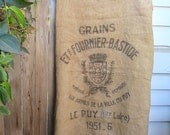 Le Puy Burlap Grain Sack - Classic Design, Very Good Condition