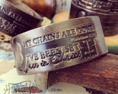 free in Christ vintage key (Galatians 5:1) leather cuff (black bronze shimmer)