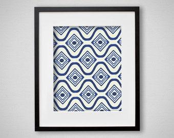Indigo Blue Art Print Watercolor Pattern Moroccan, Tribal, Boho Wall Art 8x10 or 11x14
