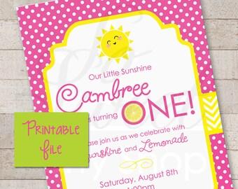 PRINTABLE Invitations Lemonade and Sunshine - 1st Birthday Party DIY Invitations - You Are My Sunshine - Pink Lemonade Party - PRINTABLE