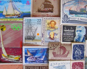 Wade In The Water 50 Vintage Ships Postage Stamps Nautical Ships Sailor Boats Ocean Sea Navy Marine Sailing Yacht US Worldwide Philately 2