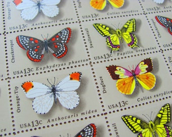Butterflies Flutter By Full Sheet of 50 Vintage UNused US Postage Stamps 13c Lepidotera Entomology Save the Date Wedding Postage Swallowtail