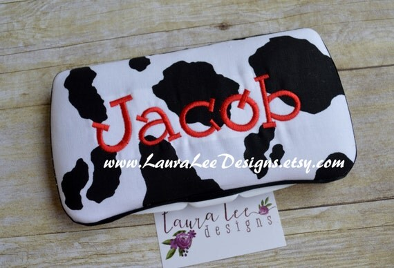 Black and White Cow Print, Travel Baby Wipe Case, Personalized Wipe Case, Diaper Wipes Case, Baby Shower Gift, Western, Baby Wipe Holder