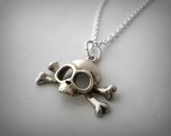 Sterling Silver Skull Pendant/ Skull and bones pendant/ Headbone Pendant/ Pirate skull Pendant
