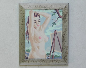 Vintage Nude Paint By Numbers Painting, Newly Framed, Woman Being Painted