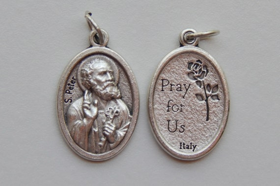 5 Patron Saint Medal Findings, S. Peter, Die Cast Silverplate, Silver Color, Oxidized Metal, Made in Italy, Charm, Drop, Religious, RM905